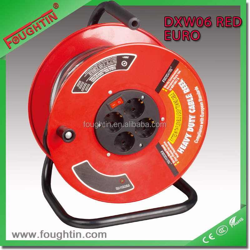 retractable extension cord reel 4way Germany socket with cable and plug with power switch full metal body spinning reel