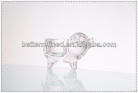 animal glass candle stand-----pig candle holder