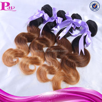 2014 popular high quality wholesale indian colored three tone hair weave