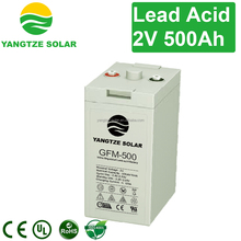 10 years life battery 2v 500ah deep cycle battery for solar power