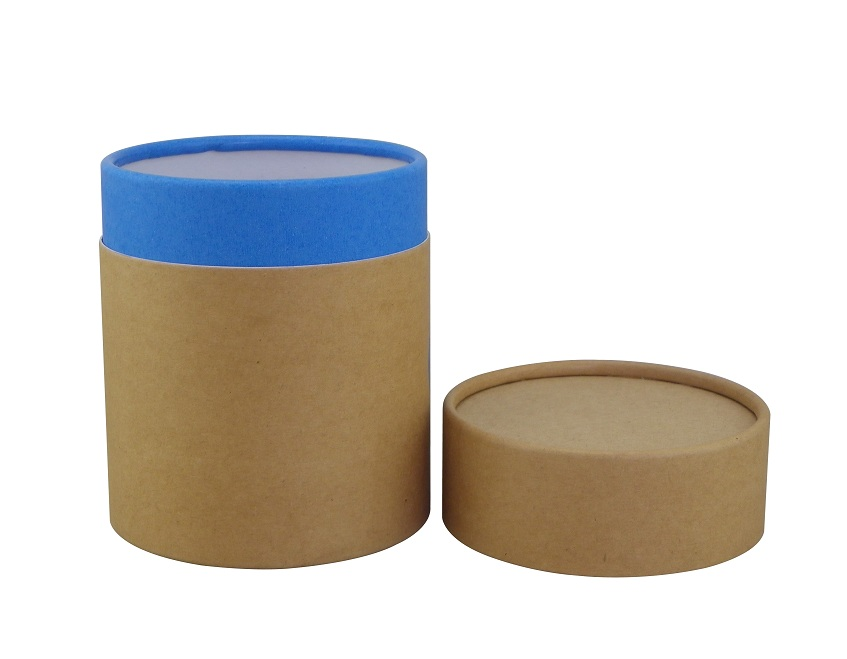 Rolled Edge Natural Kraft Paper Tube With Blue Overlap can be customized logo