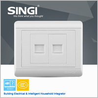Famous brand new design hot one gang computer and one gang telephone socket electrical safety wall socket for house wall socket