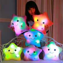 Wholesale LED flashing light colorful heart star shaped plush pillow animal pillow cushion for children gifts
