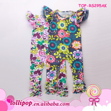 Boutique playsuit preemie sassy floral onesie wing-shaped sleeve child babygrow bodysuit flutter romper toddler icing ruffle
