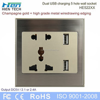86*86 type metal wiredrawing edge usb wall socket electrical socket 2 usb 2.1A