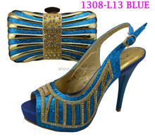 1308-L13 blue wholesale 2015 Newest lady italian shoes matching bag set women shoes and bags