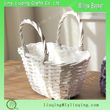 Factory wholesale oval shopping bag shape white willow/wicker basket flower basket with handles
