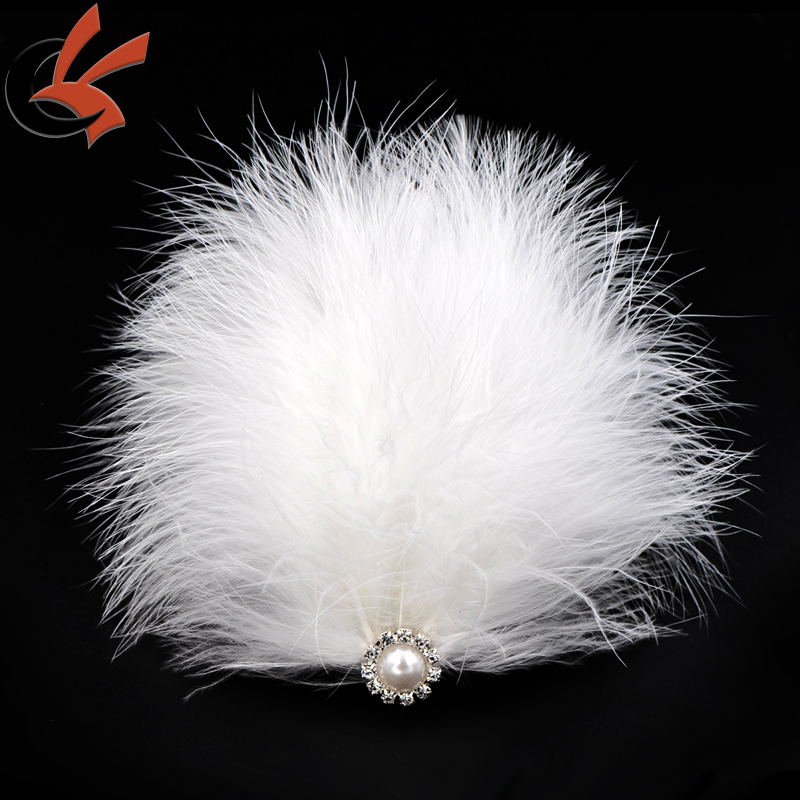 wedding feather head piece white headband feather pad