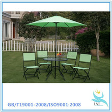 Homcom Garden Patio Outdoor Furniture Bistro Set Folding Stacking Chairs+Table +Parasol
