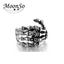 2016 NEW Men's Punk Stainless Steel Ring Band Silver Black Skull Hand Bone Gothic Fshion Unique Ring for Man MoonSo KR2513