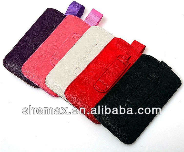 Pu Leather Pouch Sleeve Bag Cover Pull Tab Case For Apple iPhone 5G 5
