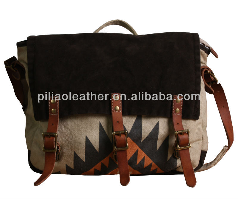 cowhide leather trim canvas messenger bag with printing