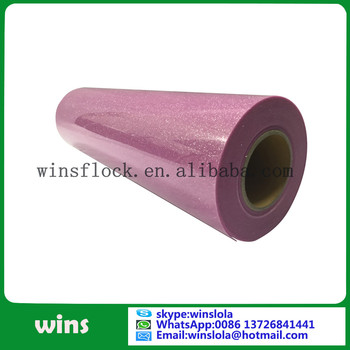 wins wholesale pink glitter heat transfer vinyl for garment