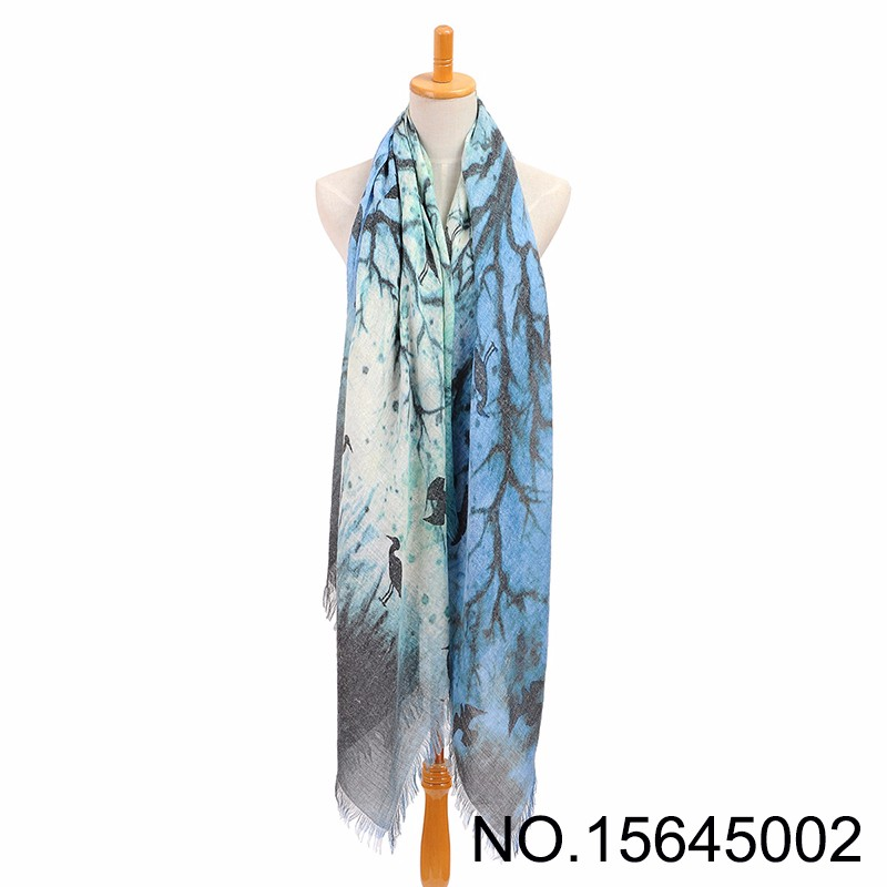 Women Green Blue Autumn Big Tree Print Viscose Scarf