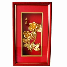 24k Gold rose picture frames 3D Christmas picture frame Hot Arts decoration Wall hanging picture frame