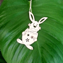hot bunny shaped wood hangings festival decoration&gift for children