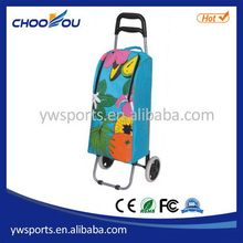 Customized promotional foldable shopping trolley with wheel