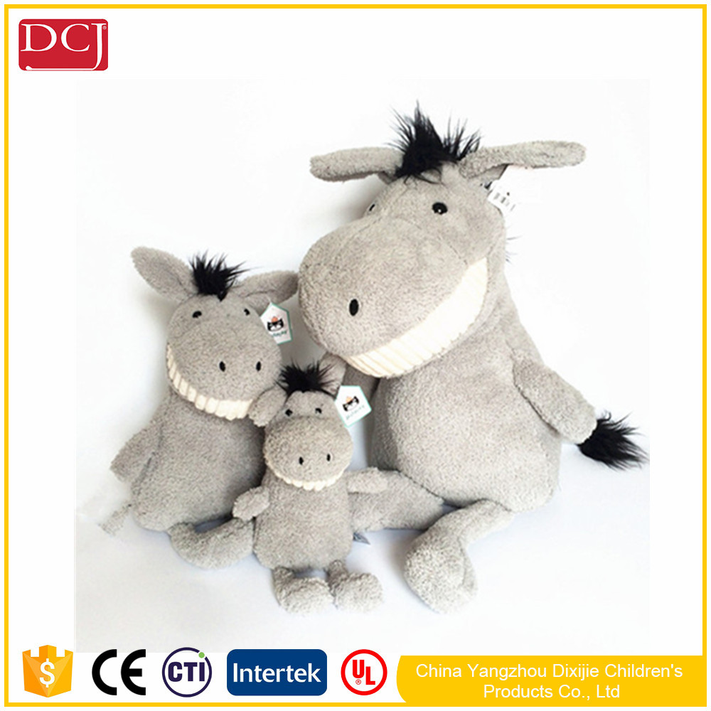 2017 new design custom stuffed donkey with white tooth donkey plush dolls high quality toys
