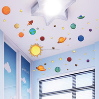 ZooyooPA-1313-NPopular household DIY decorate children room world planet cartoon wall stickers in outer space