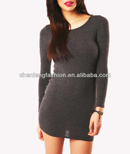 CHEFON Grey Color Long Sleeve Fitted Plain Dress Patterns