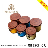 China Wholesale 100% Soy Wax 2015 Nice Wooden lid Jar Type Scented Candles In Stock