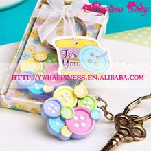 """Cute as a Button"" Round Colorful Key Chain Baby Shower Favors Party Souvenir Wedding Favor"