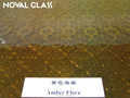 5mm Amber Flora patterned glass, rolled glass