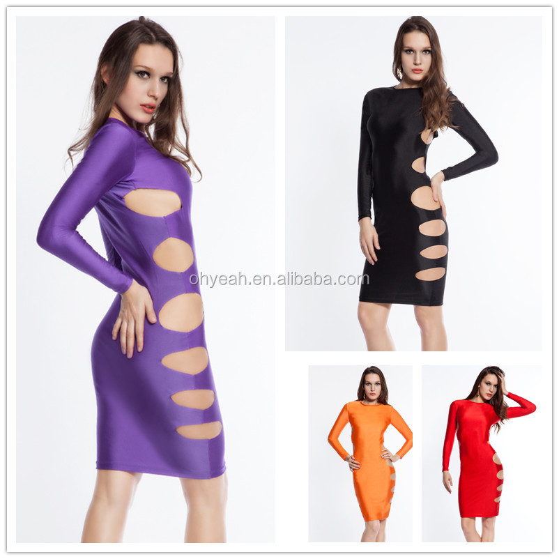 Guarateed quality hot sale sexy mature women very cheap side cut out bandage dress wholesale