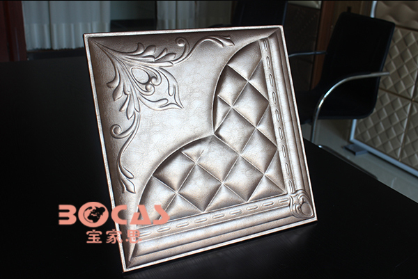2015 new design 3d leather carved pvc ceiling panels in china