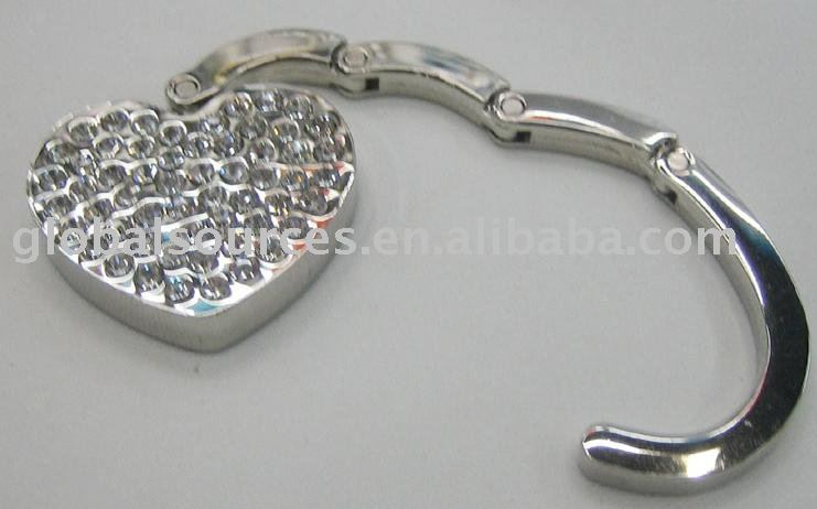 Heart shape foldable crystal Purse Hook
