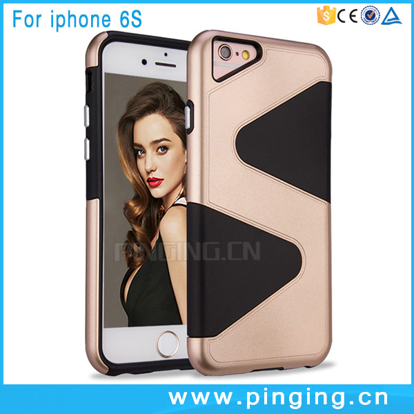 New launch mobile phone case cover for iphone 6s, mix color S line design back cover for i phone 6s