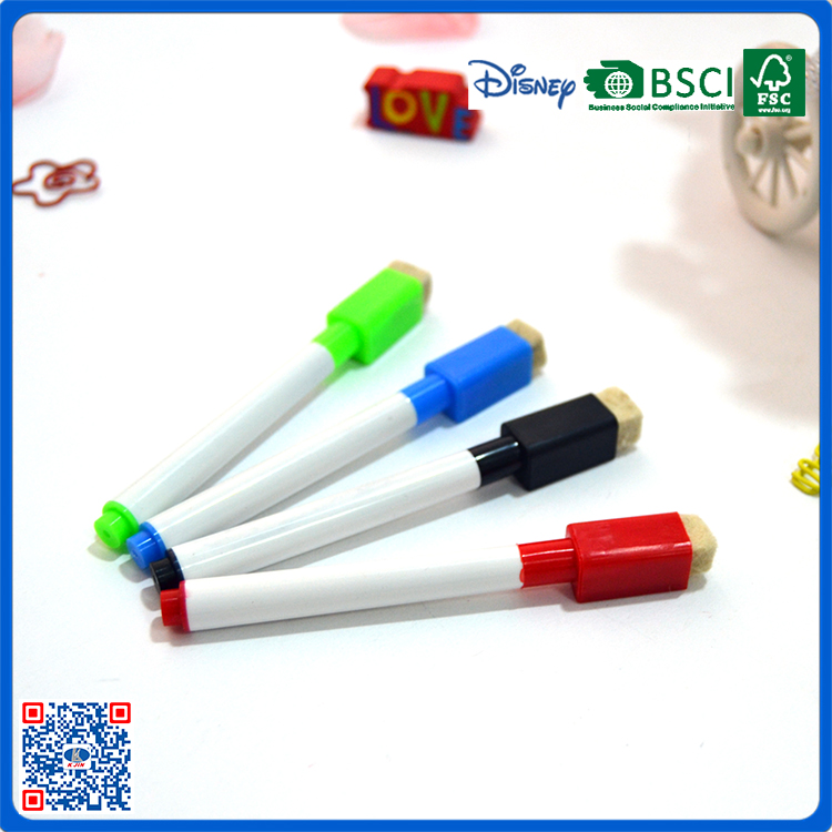 Best selling 4 colors certificated whiteboard marker with brush for promotion