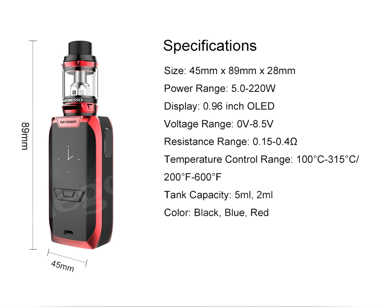 Vaporesso Revenger Kit with Quick charging maximum output of 2.5A