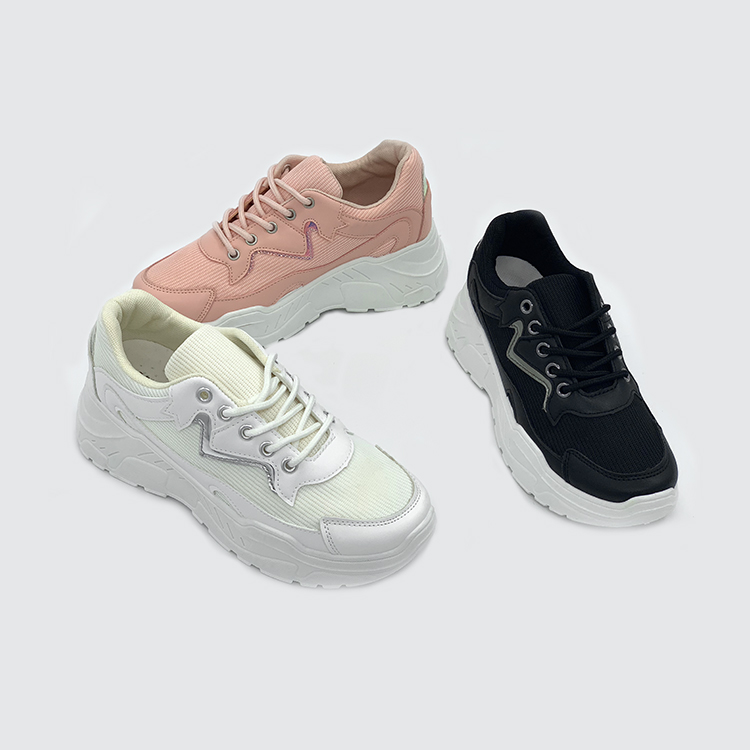 Breathable Leather Sneakers Lace up Ladies Shoes Casual Custom Women's Sports Shoes Wholesale Girls Shoes Women Sneakers