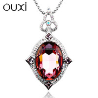 2015 OUXI New arrival red diamond crystal pendant necklace and sweater chain 11037-1