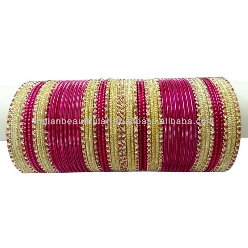 TRADITIONAL FUSCHIA PINK INDIAN BANGLE/CHURI SET WEDDING WEAR KANGAN JEWELRY