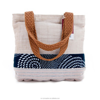 Original Design Durable Linen Leisure Style Blue Handbag for Summer