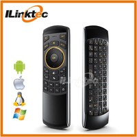 Handheld mini mouse keyboard 2.4GHz wireless QWERTY keyboard+fly air mouse+IR learning remote for Smart TV