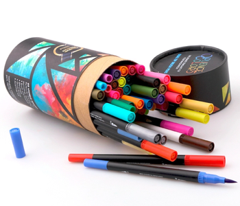 60 pack dual tip brush pen art markers with round barrel for painting drawing