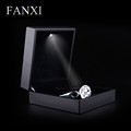 FANXI custom logo black lacquered bracelet jewelry box bangle holder case for wedding plastic jewelry boxes with LED light