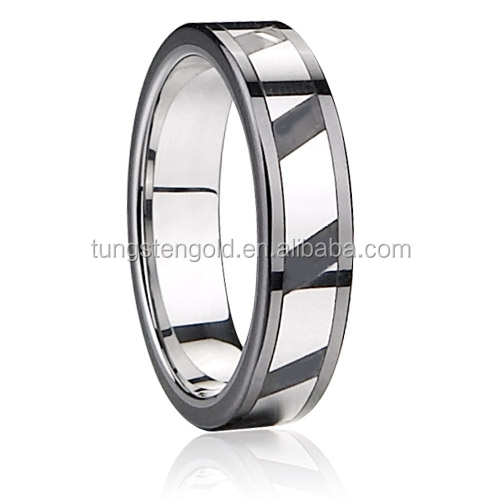 Tungsten Carbide Ring with Several pcs of Steel Areas in the Middle Groove Polished Shiny TGTU146