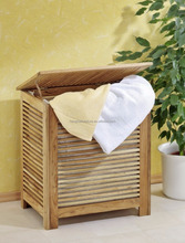 Nordic strip solid oiled walnut wood modern laundry basket withcotton bag