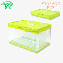 waterproof foldable plastic crate plastic save space turnover box with lids for car trunk