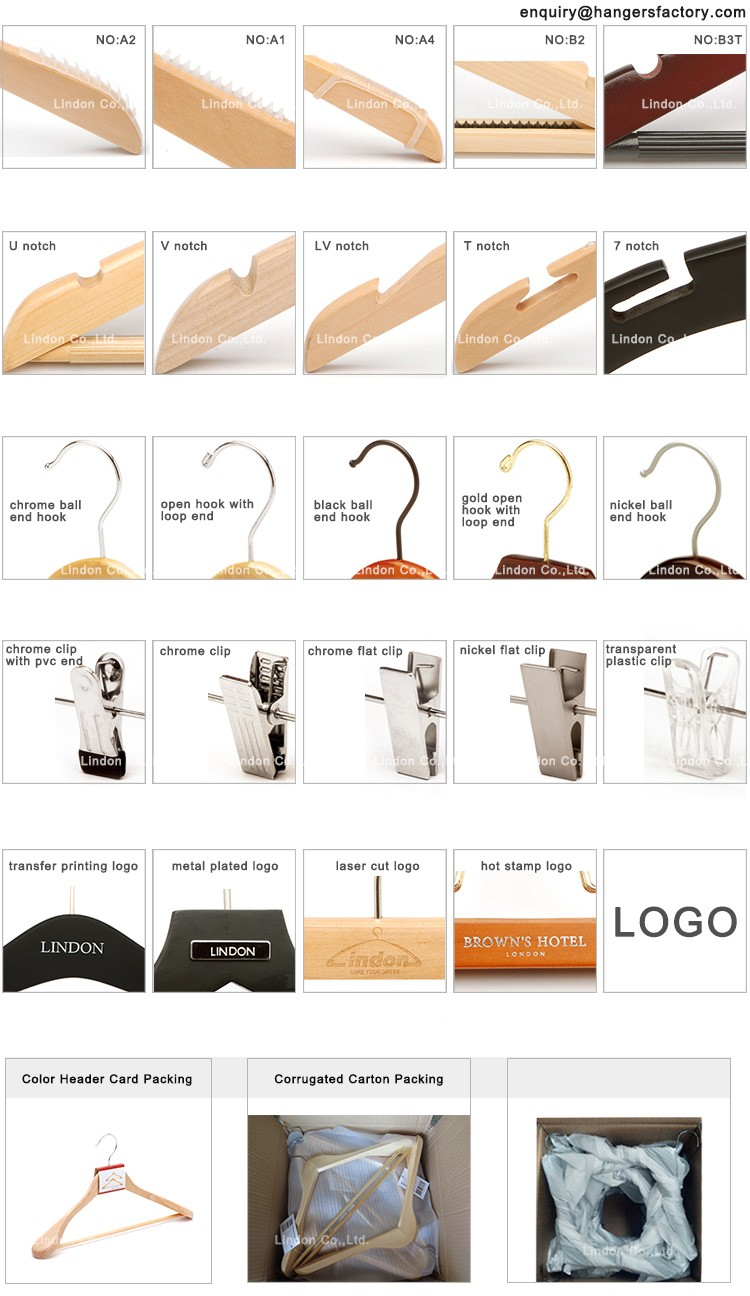 Wooden Clothes Hanger Printed LOGO with Trouser Bar