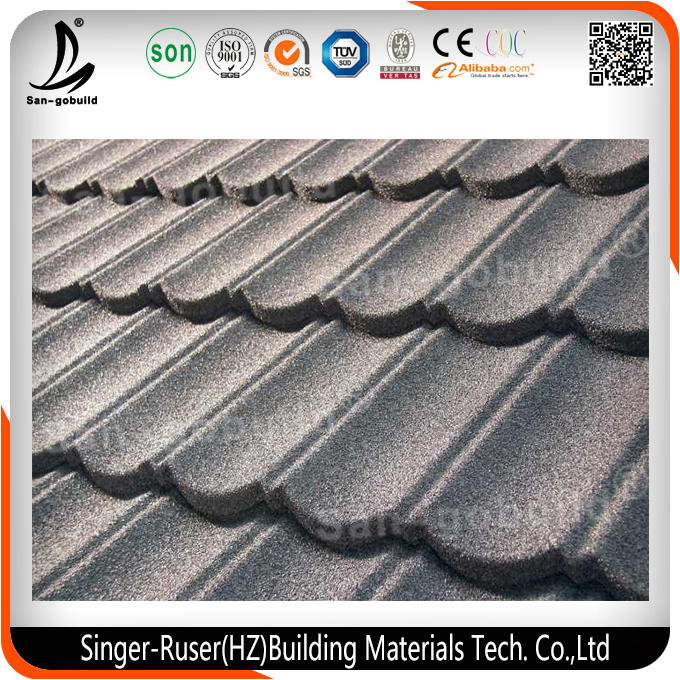 Stone Chips Coated Steel Tile, Hangzhou Building Material, Metal Roofing Price Asphalt Shingles