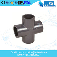 cross joint pvc pipe fitting/upvc cross tee with grey colour
