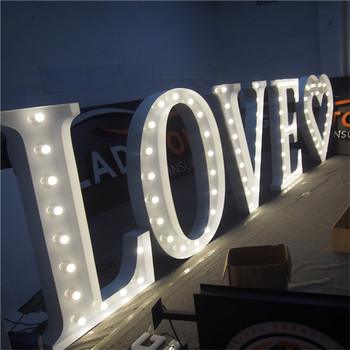 Decorative led bulb light up sign iron vintage marquee letters for wedding