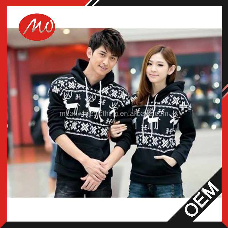 Fashion couple hoodies Sweater with deer