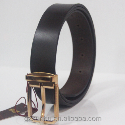 Luxury High Quality Formal Classical Type Italy 100% Genuine Leather Brown Belt Withe Golden Stainless Steel Buckle