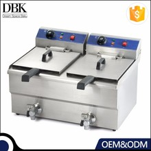 Kitchen Equipment Automatic 10+10L gas stainless steel deep fryer